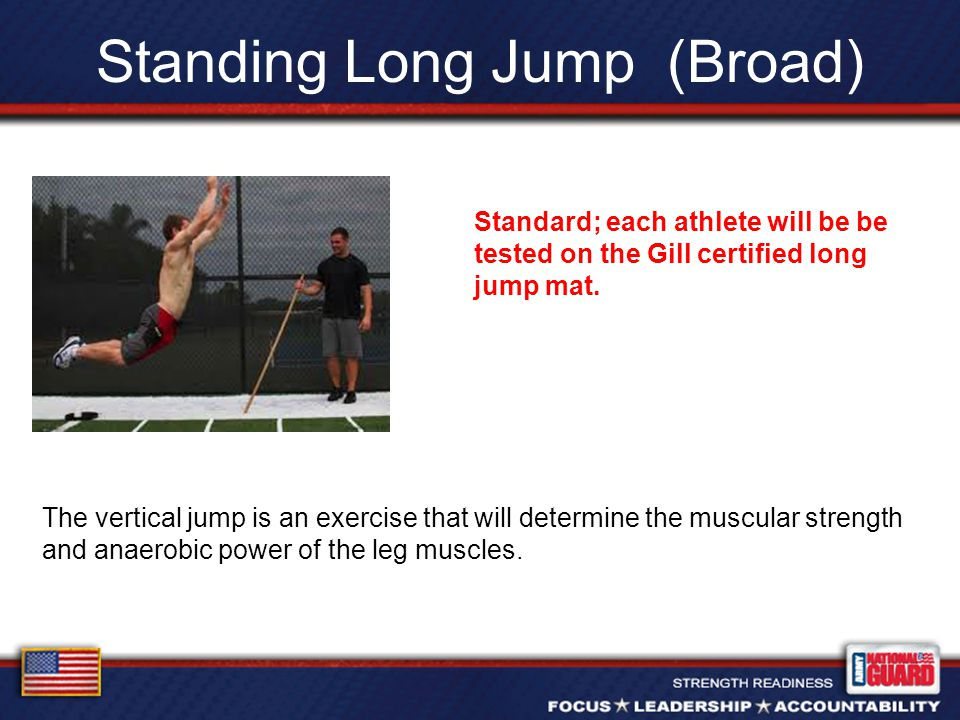 Standing Long Jump (Broad) The vertical jump is an exercise that will determine the muscular strength and anaerobic power of the leg muscles.
