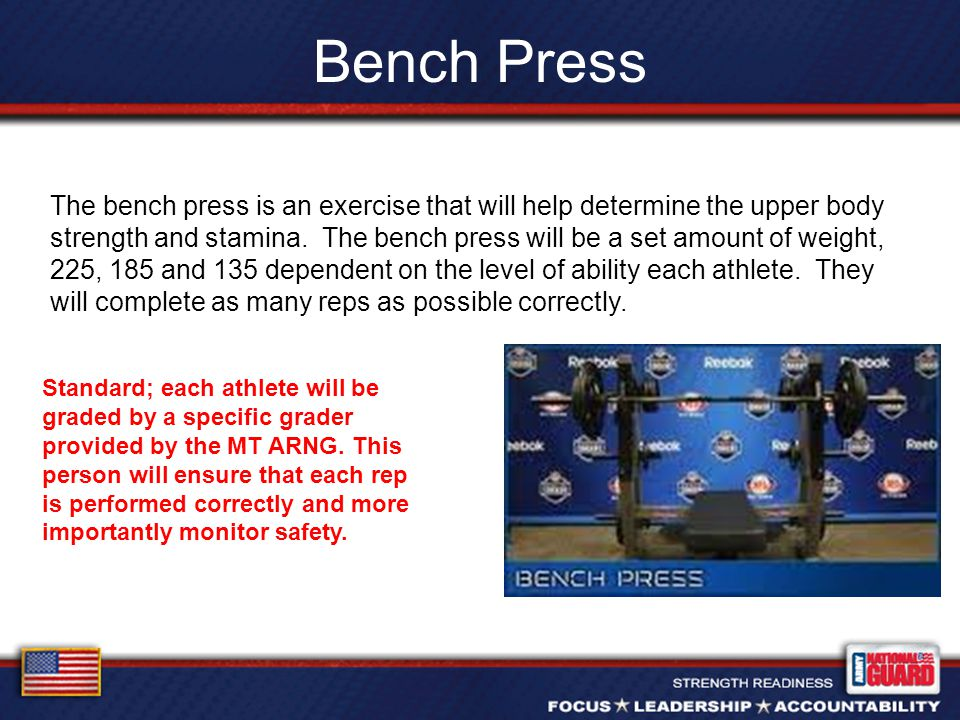 Bench Press The bench press is an exercise that will help determine the upper body strength and stamina.