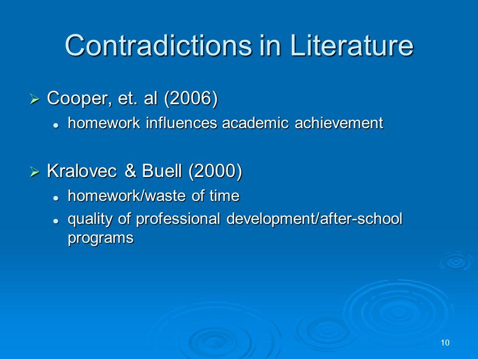 Contradictions in Literature  Cooper, et.