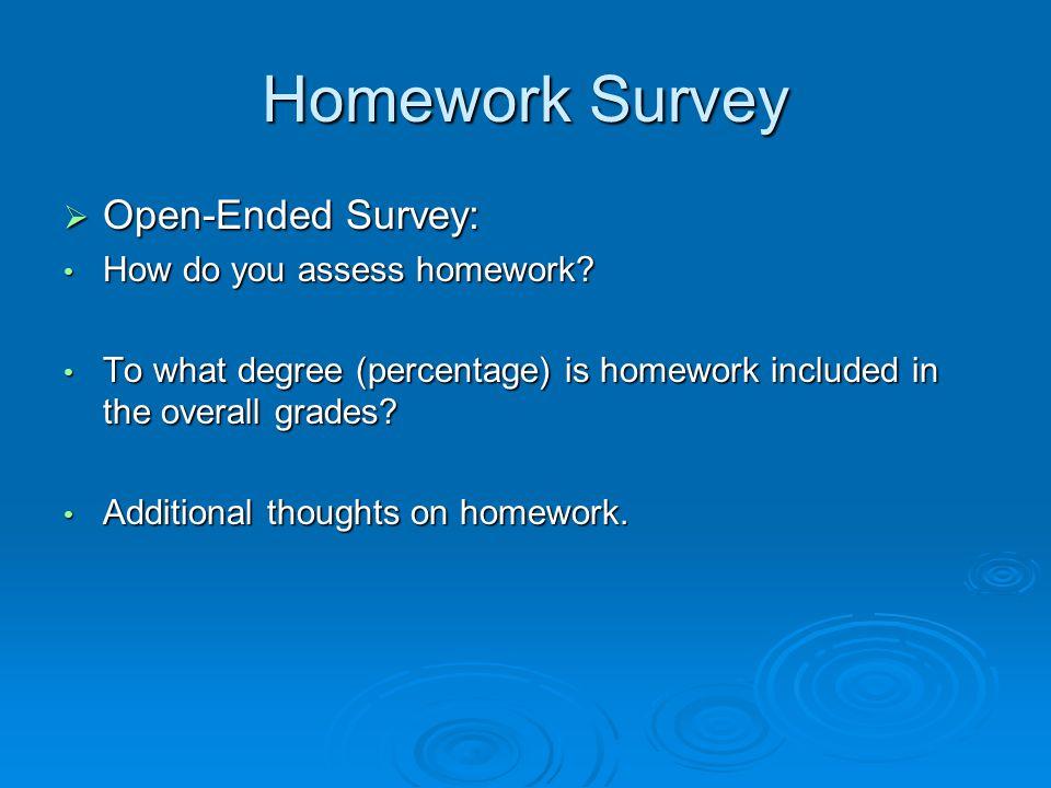 Homework Survey  Open-Ended Survey: How do you assess homework.