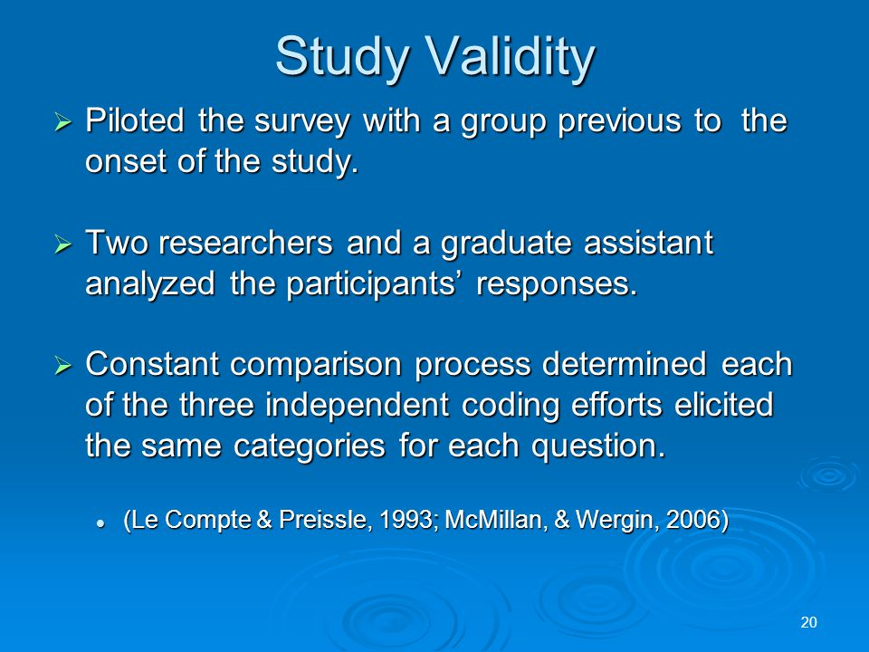 Study Validity  Piloted the survey with a group previous to the onset of the study.