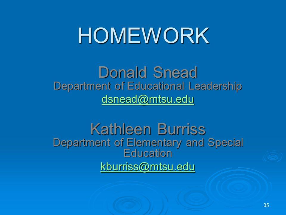 HOMEWORK Donald Snead Department of Educational Leadership dsnead@mtsu.edu Kathleen Burriss Department of Elementary and Special Education kburriss@mtsu.edu 35