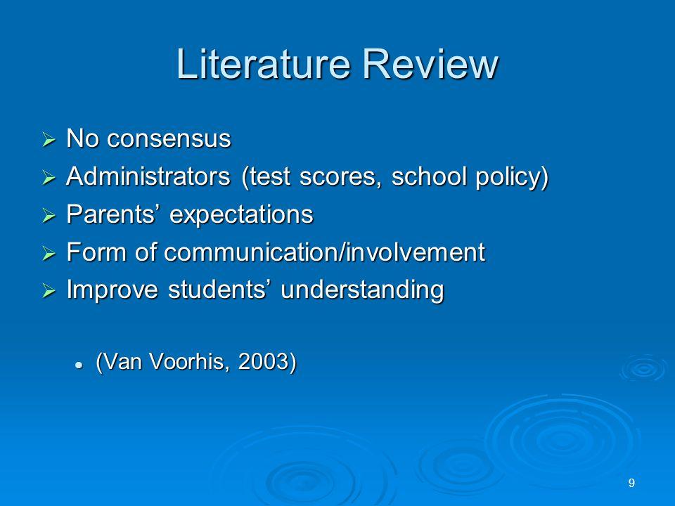 Literature Review  No consensus  Administrators (test scores, school policy)  Parents' expectations  Form of communication/involvement  Improve students' understanding (Van Voorhis, 2003) (Van Voorhis, 2003) 9