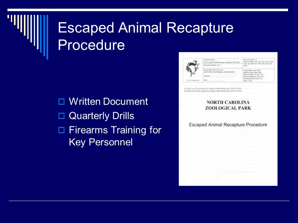 Escaped Animal Recapture Procedure  Written Document  Quarterly Drills  Firearms Training for Key Personnel