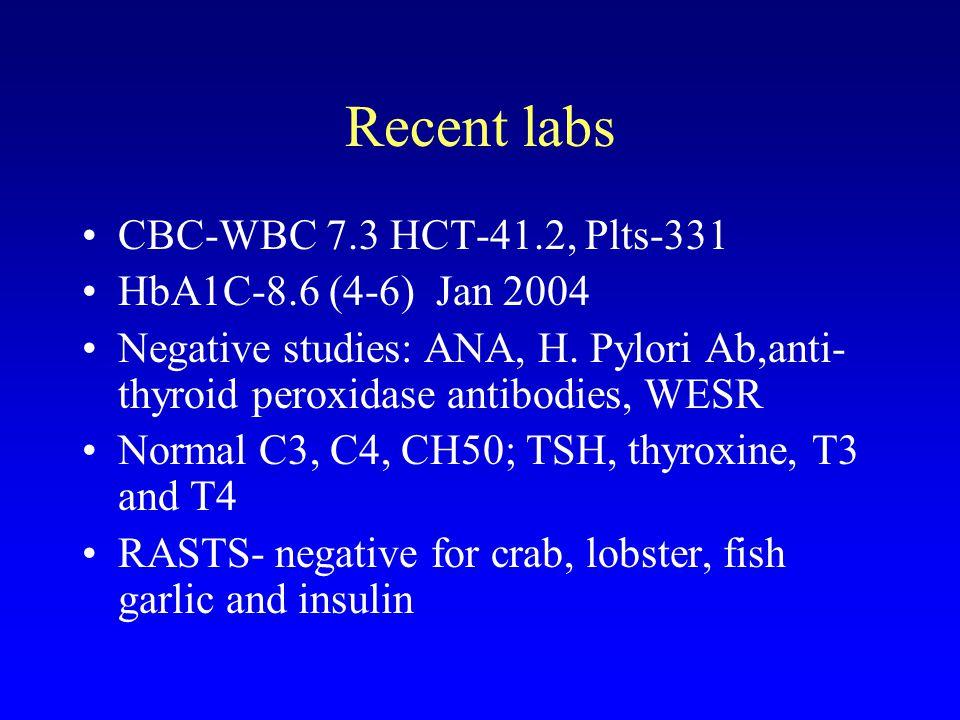 Recent labs CBC-WBC 7.3 HCT-41.2, Plts-331 HbA1C-8.6 (4-6) Jan 2004 Negative studies: ANA, H.