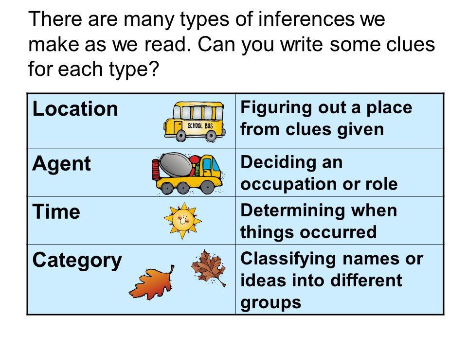 There are many types of inferences we make as we read.