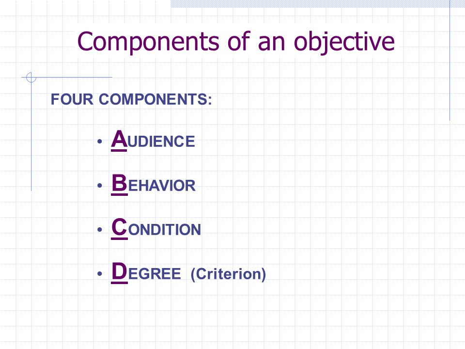 Components of an objective FOUR COMPONENTS: A UDIENCE B EHAVIOR C ONDITION D EGREE (Criterion)