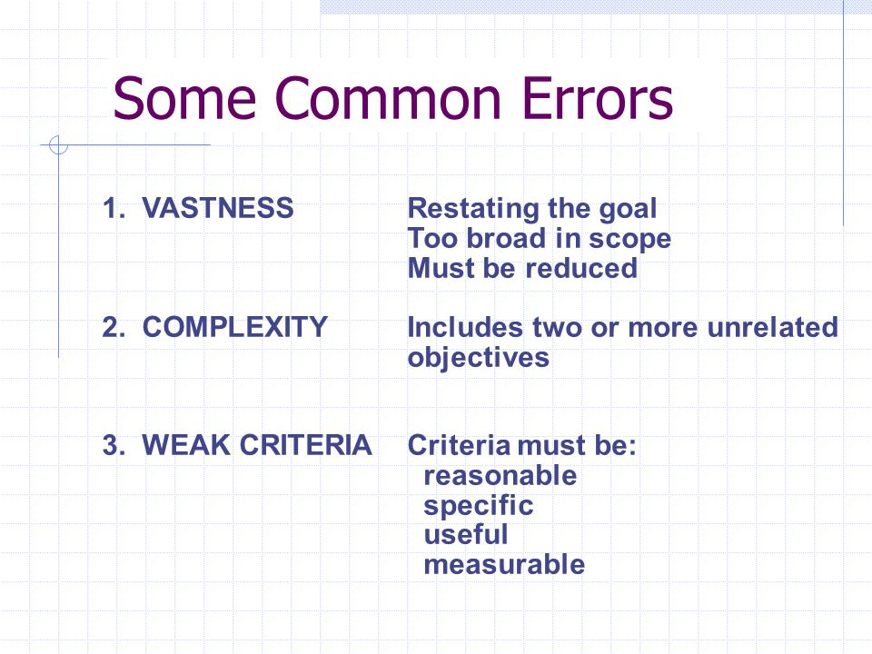 Some Common Errors 1. VASTNESS 2. COMPLEXITY 3.