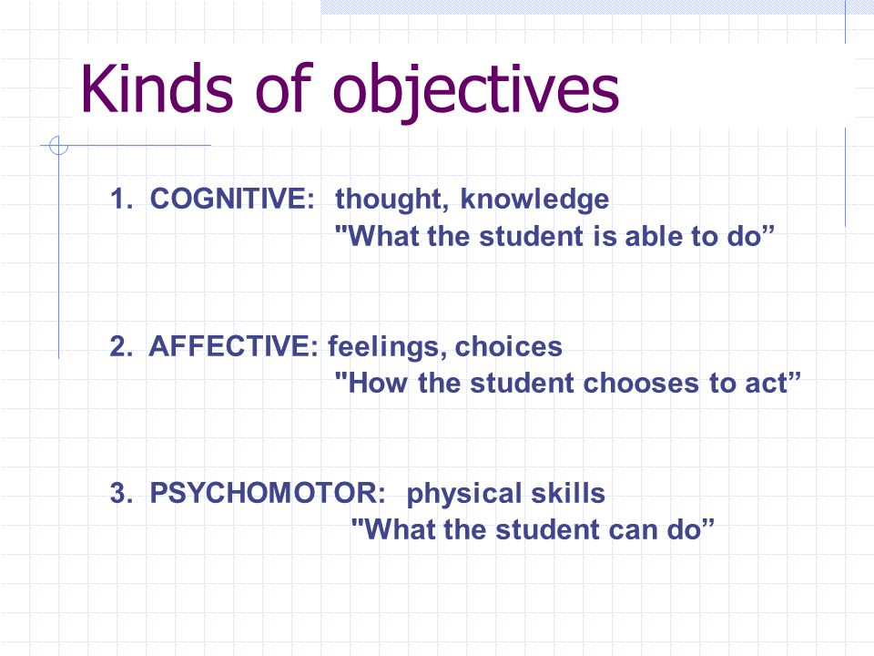 Kinds of objectives 1. COGNITIVE: thought, knowledge What the student is able to do 2.