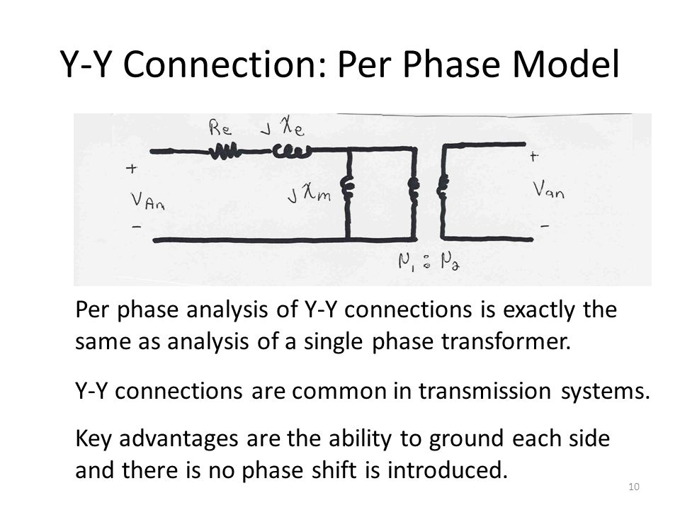 Y-Y Connection: Per Phase Model Per phase analysis of Y-Y connections is exactly the same as analysis of a single phase transformer. Y-Y connections a