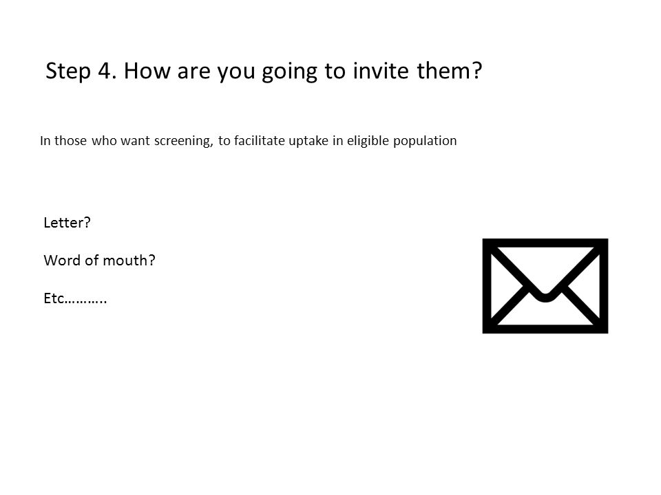 Step 4. How are you going to invite them. Letter.