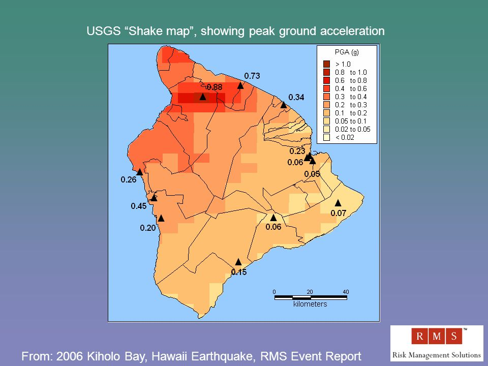 USGS Shake map , showing peak ground acceleration From: 2006 Kiholo Bay, Hawaii Earthquake, RMS Event Report