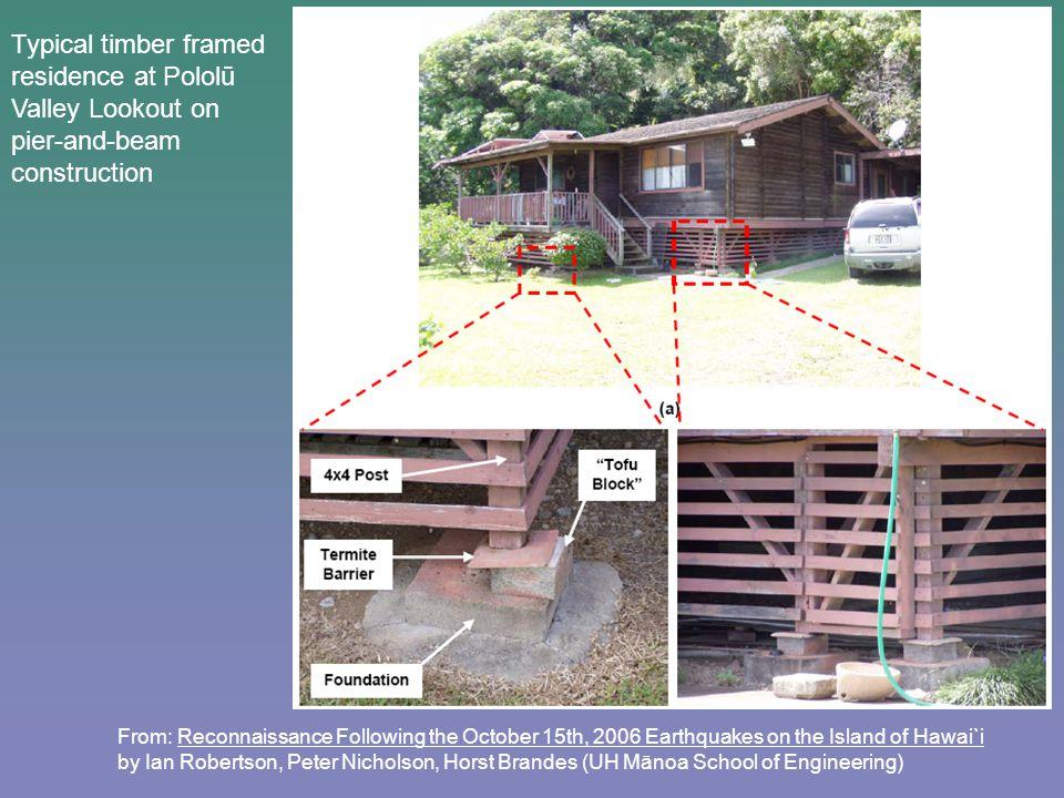 From: Reconnaissance Following the October 15th, 2006 Earthquakes on the Island of Hawai`i by Ian Robertson, Peter Nicholson, Horst Brandes (UH Mānoa School of Engineering) Typical timber framed residence at Pololū Valley Lookout on pier-and-beam construction