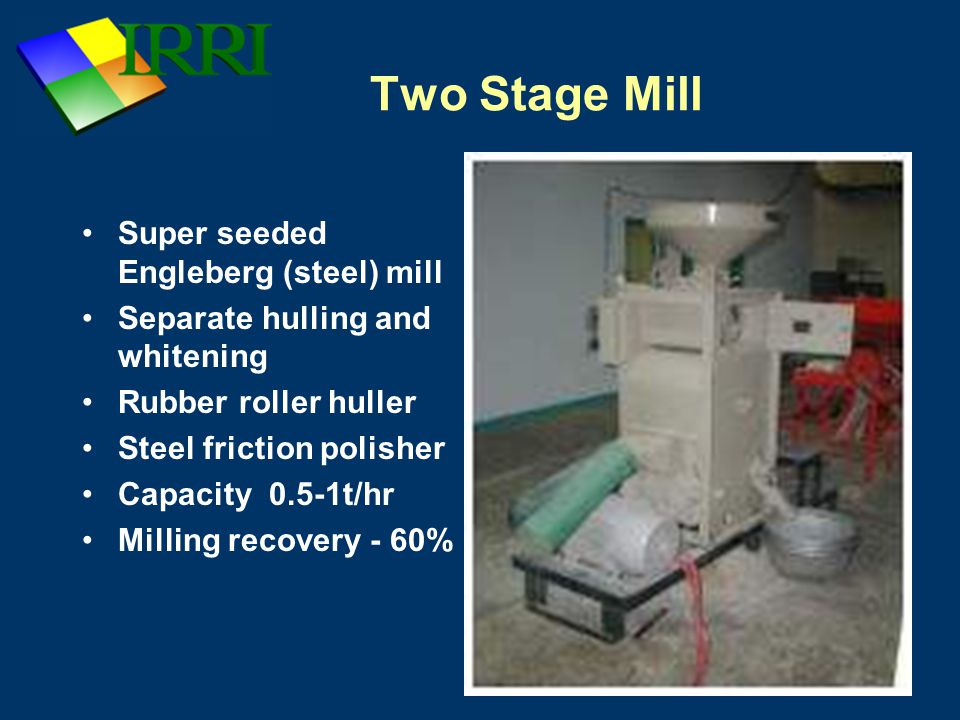 Bagging Station Rice normally sold in 50kg bags Accurately weighed