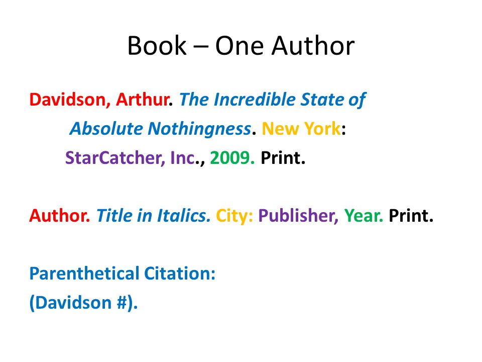 Book – One Author Davidson, Arthur. The Incredible State of Absolute Nothingness.