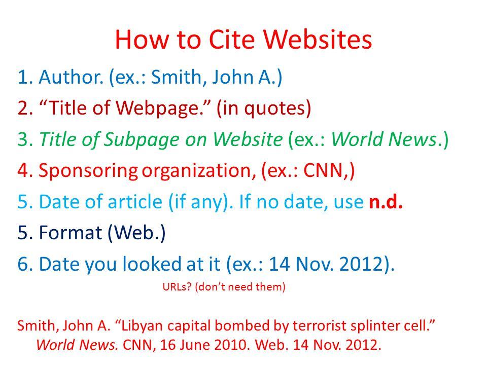 How to Cite Websites 1. Author. (ex.: Smith, John A.) 2.