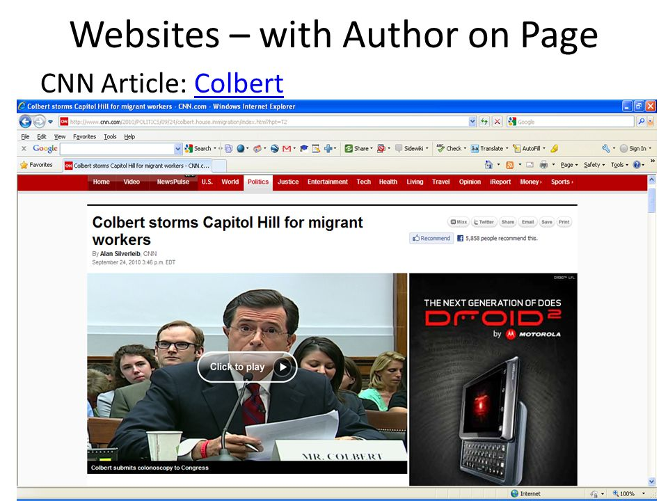 Websites – with Author on Page CNN Article: ColbertColbert