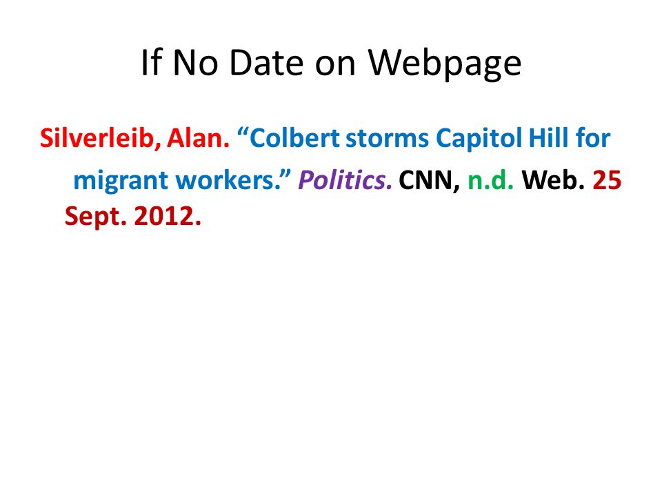 If No Date on Webpage Silverleib, Alan.