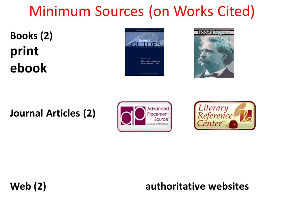 Minimum Sources (on Works Cited) Books (2) print ebook Journal Articles (2) Web (2) authoritative websites