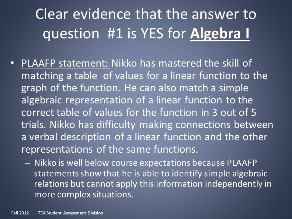 Clear evidence that the answer to question #1 is YES for Algebra I PLAAFP statement: Nikko has mastered the skill of matching a table of values for a linear function to the graph of the function.