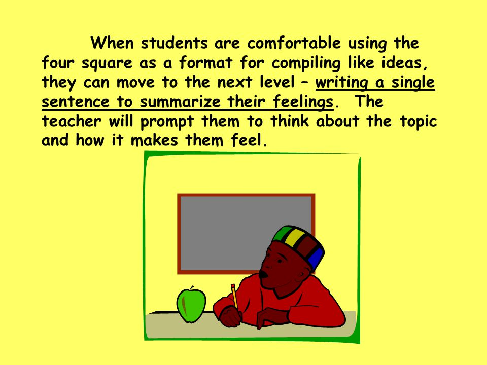 When students are comfortable using the four square as a format for compiling like ideas, they can move to the next level – writing a single sentence