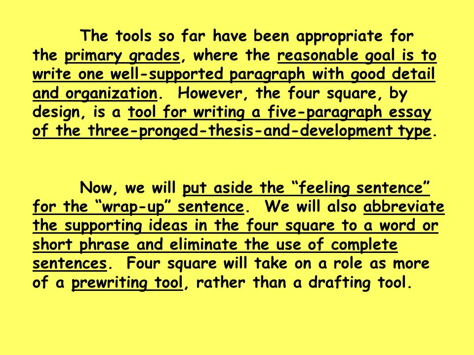The tools so far have been appropriate for the primary grades, where the reasonable goal is to write one well-supported paragraph with good detail and