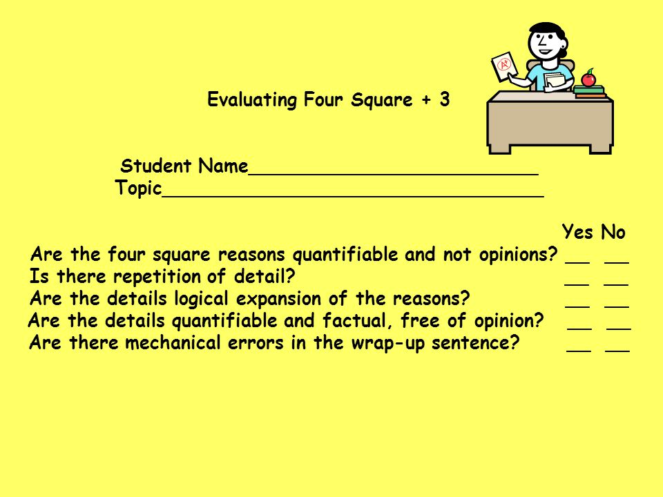 Evaluating Four Square + 3 Student Name_________________________ Topic_________________________________ Yes No Are the four square reasons quantifiabl