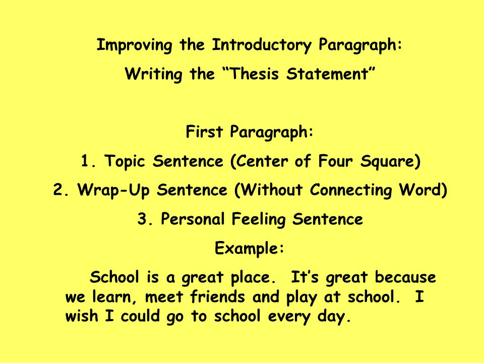 "Improving the Introductory Paragraph: Writing the ""Thesis Statement"" First Paragraph: 1.Topic Sentence (Center of Four Square) 2.Wrap-Up Sentence (Wit"