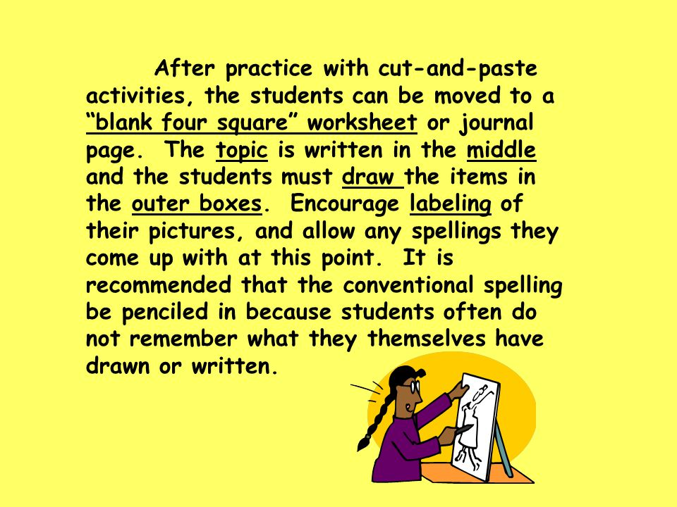 "After practice with cut-and-paste activities, the students can be moved to a ""blank four square"" worksheet or journal page. The topic is written in th"