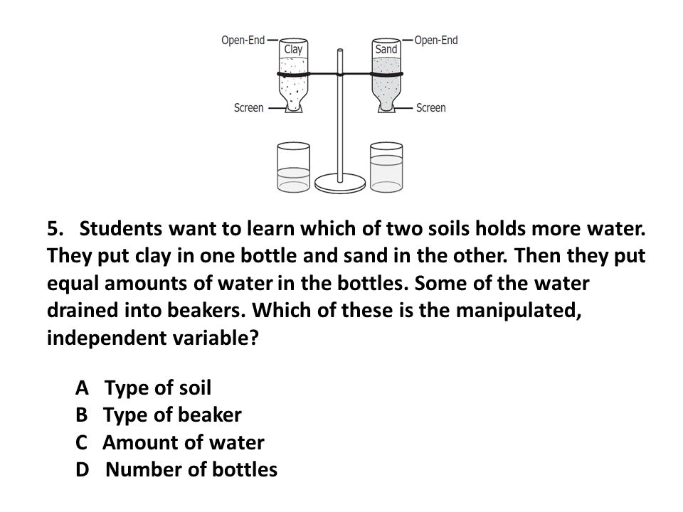 A Type of soil B Type of beaker C Amount of water D Number of bottles 5. Students want to learn which of two soils holds more water. They put clay in
