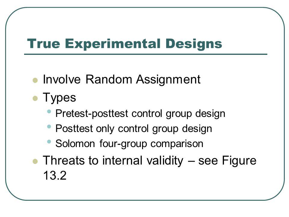 True Experimental Designs Involve Random Assignment Types Pretest-posttest control group design Posttest only control group design Solomon four-group