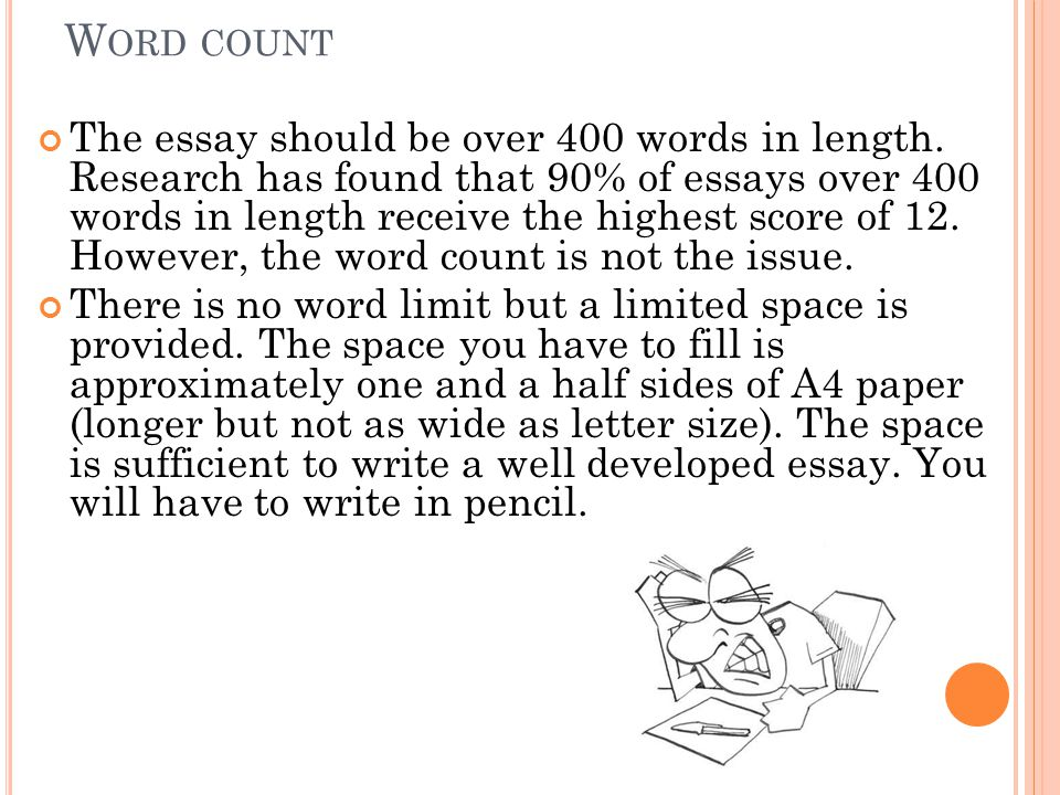 W ORD COUNT The essay should be over 400 words in length.