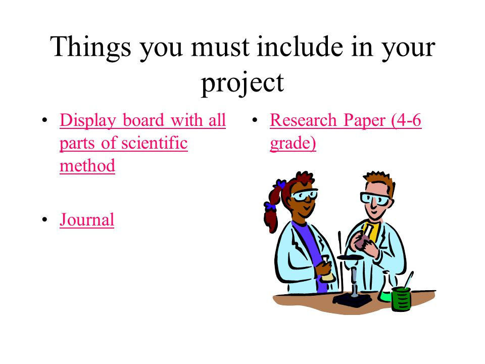 Things you must include in your project Display board with all parts of scientific methodDisplay board with all parts of scientific method Journal Research Paper (4-6 grade)Research Paper (4-6 grade)