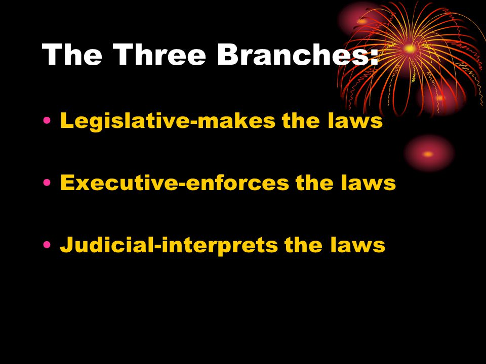 The Three Branches: Legislative-makes the laws Executive-enforces the laws Judicial-interprets the laws