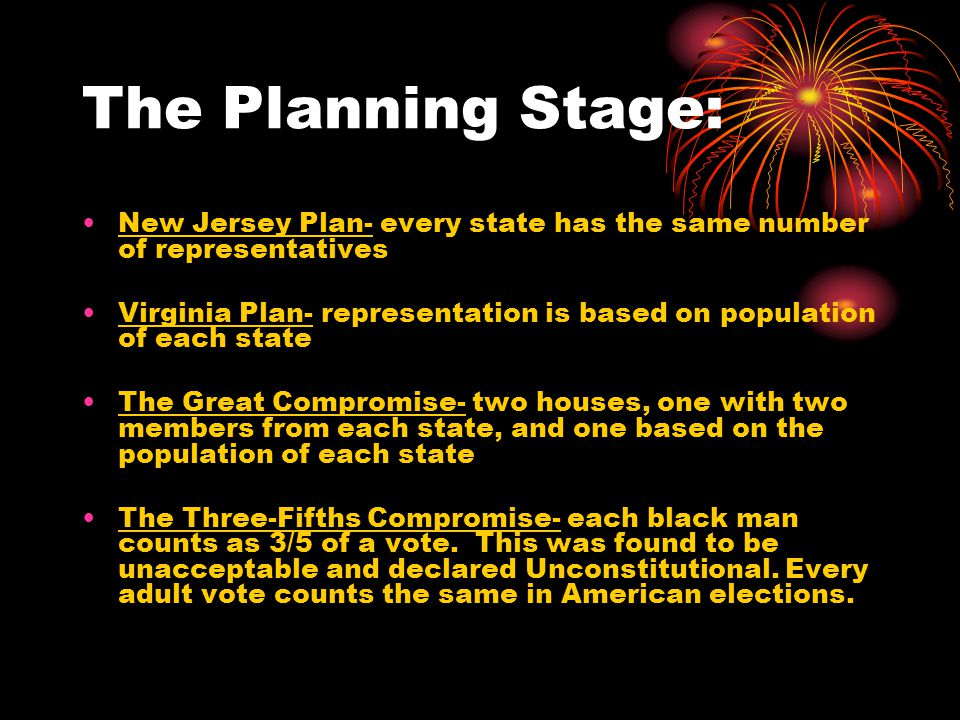 The Planning Stage: New Jersey Plan- every state has the same number of representatives Virginia Plan- representation is based on population of each state The Great Compromise- two houses, one with two members from each state, and one based on the population of each state The Three-Fifths Compromise- each black man counts as 3/5 of a vote.