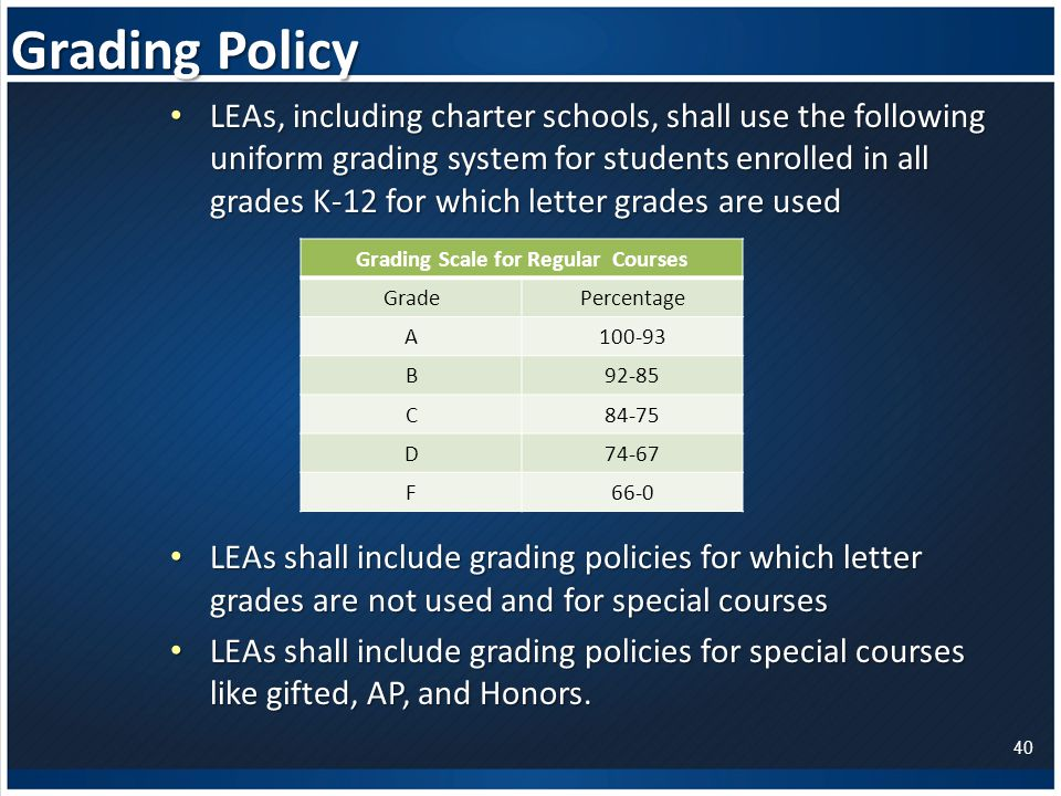 Grading Policy LEAs, including charter schools, shall use the following uniform grading system for students enrolled in all grades K-12 for which letter grades are used LEAs, including charter schools, shall use the following uniform grading system for students enrolled in all grades K-12 for which letter grades are used LEAs shall include grading policies for which letter grades are not used and for special courses LEAs shall include grading policies for which letter grades are not used and for special courses LEAs shall include grading policies for special courses like gifted, AP, and Honors.