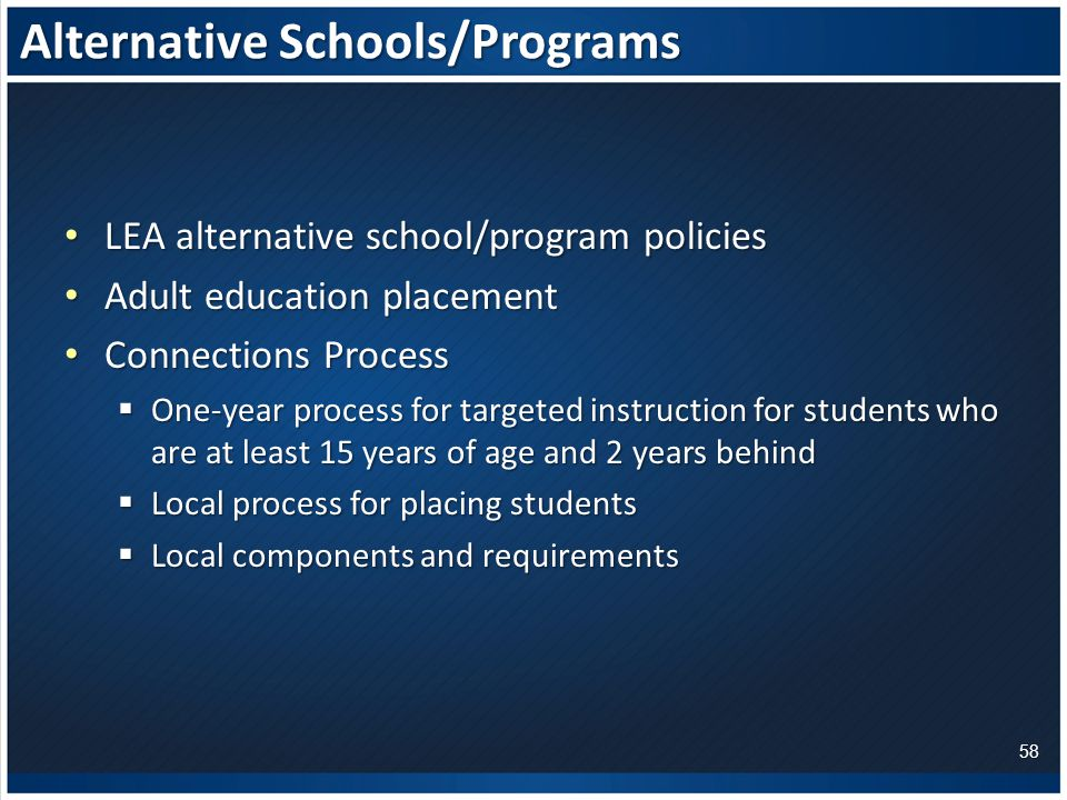 Alternative Schools/Programs LEA alternative school/program policies LEA alternative school/program policies Adult education placement Adult education placement Connections Process Connections Process  One-year process for targeted instruction for students who are at least 15 years of age and 2 years behind  Local process for placing students  Local components and requirements 58