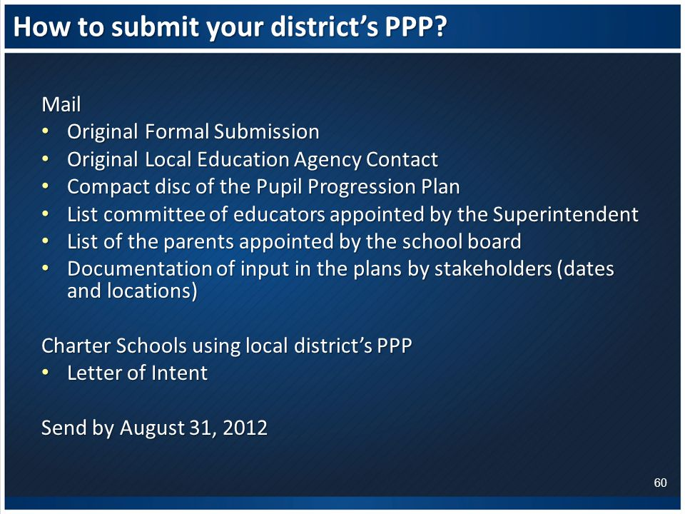How to submit your district's PPP.