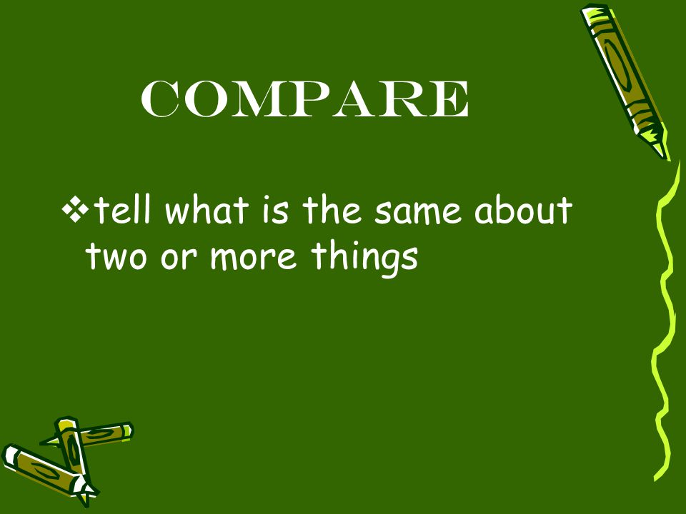 Compare  tell what is the same about two or more things