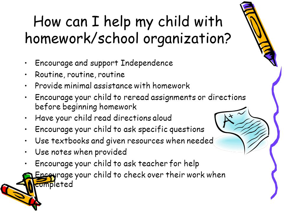 How can I help my child with homework/school organization? Encourage and support Independence Routine, routine, routine Provide minimal assistance wit