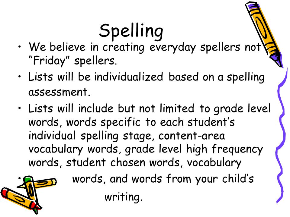 Spelling We believe in creating everyday spellers not Friday spellers.