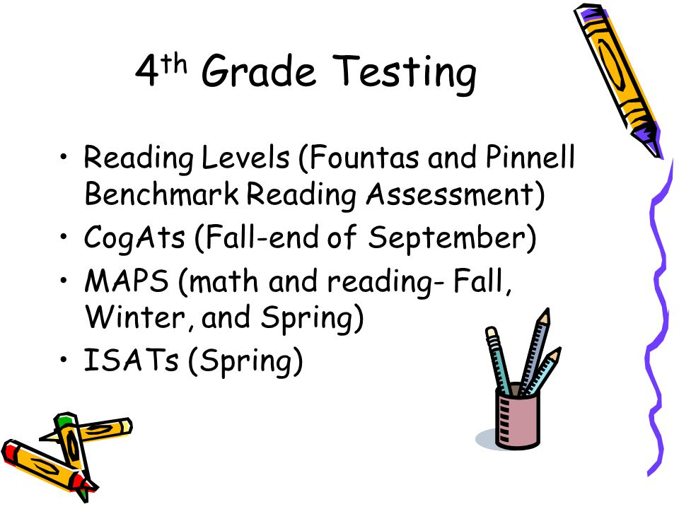 4 th Grade Testing Reading Levels (Fountas and Pinnell Benchmark Reading Assessment) CogAts (Fall-end of September) MAPS (math and reading- Fall, Winter, and Spring) ISATs (Spring)