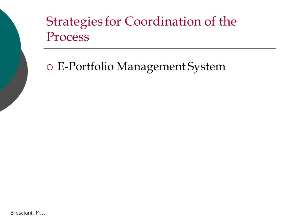 Bresciani, M.J. Strategies for Coordination of the Process  E-Portfolio Management System