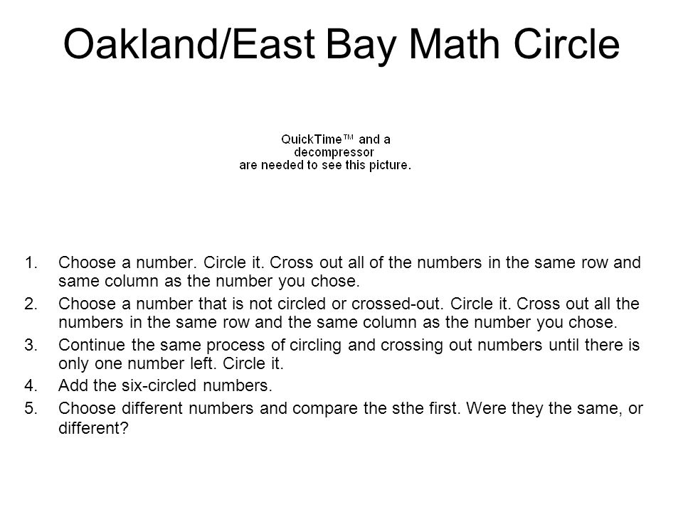 Oakland/East Bay Math Circle 1.Choose a number. Circle it. Cross out all of the numbers in the same row and same column as the number you chose. 2.Cho