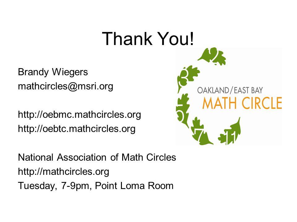 Thank You! Brandy Wiegers mathcircles@msri.org http://oebmc.mathcircles.org http://oebtc.mathcircles.org National Association of Math Circles http://m