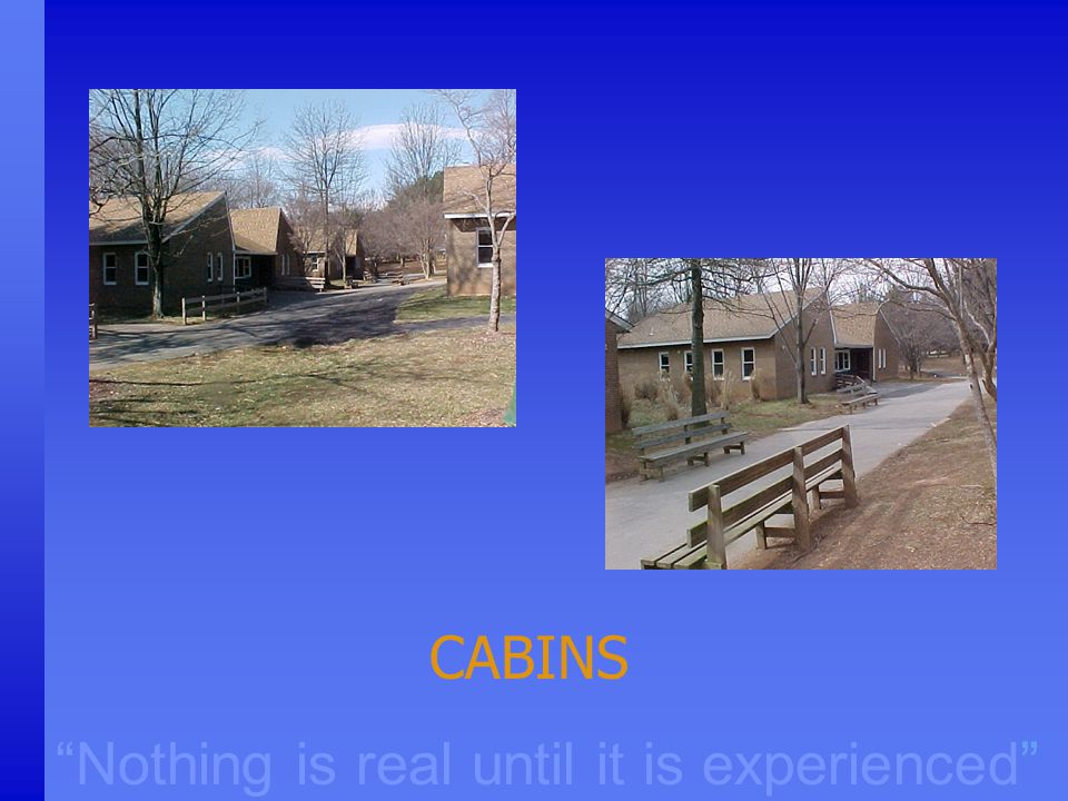 """Nothing is real until it is experienced"" CABINS"