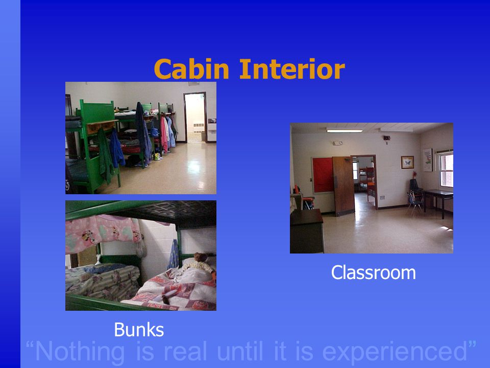 """Nothing is real until it is experienced"" Cabin Interior Classroom Bunks"