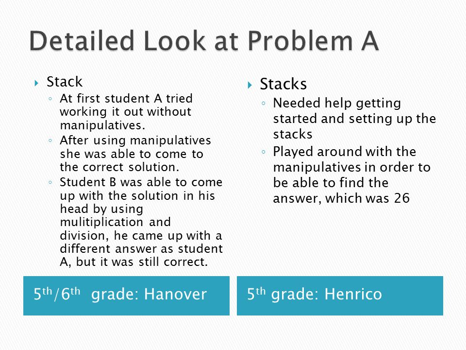 5 th /6 th grade: Hanover5 th grade: Henrico  Stack ◦ At first student A tried working it out without manipulatives.
