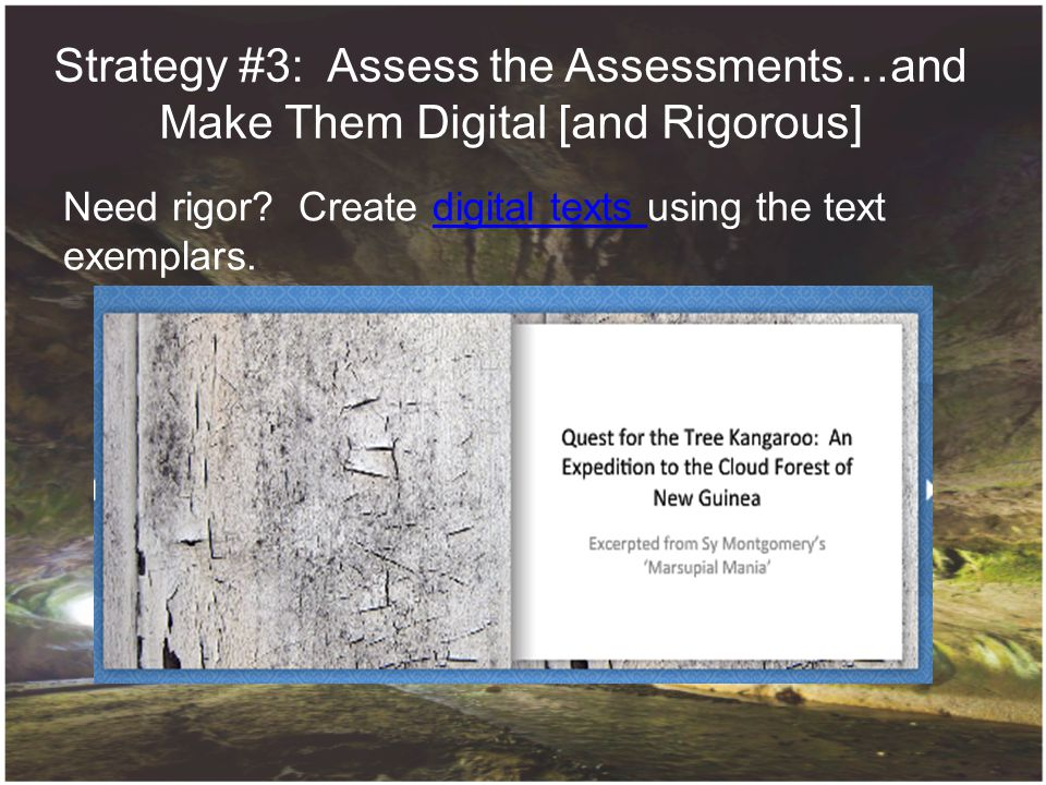 Strategy #3: Assess the Assessments…and Make Them Digital [and Rigorous] 1.Need rigor? Create digital texts using the text exemplars. 2.Integrate digi