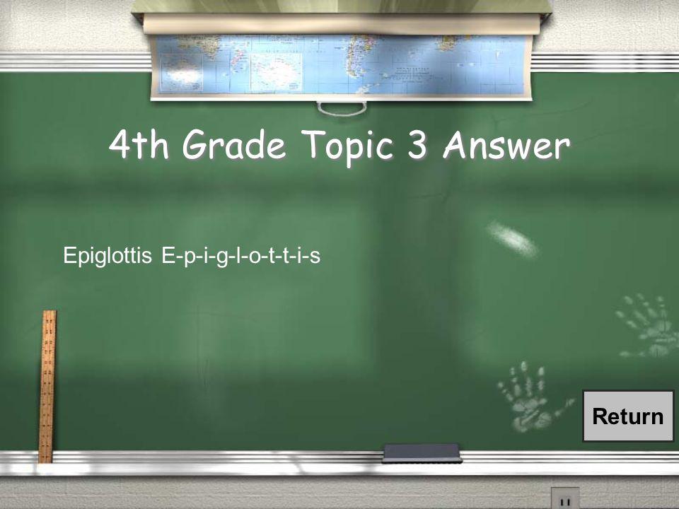 4th Grade Topic 3 Answer Return Epiglottis E-p-i-g-l-o-t-t-i-s